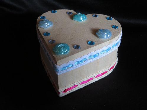 Boîte dentelle bleu et rose