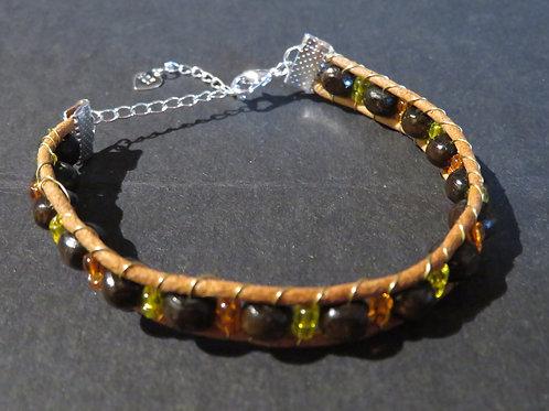 Bracelet bois entrelacé cuir