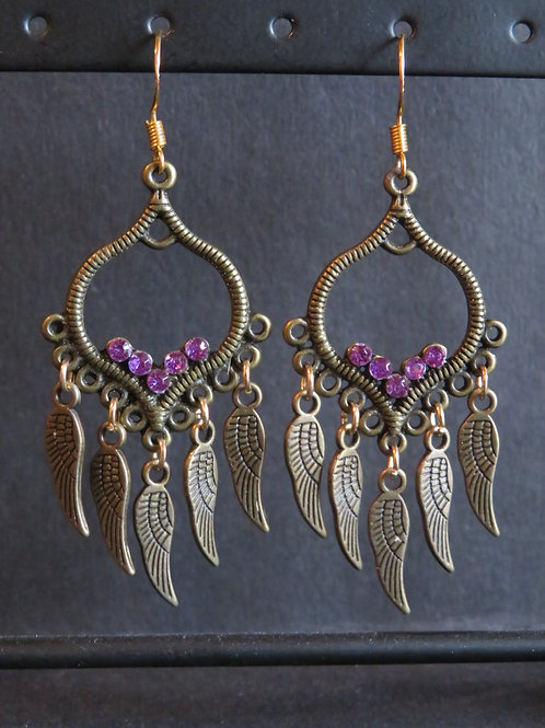 Boucles ailées strass violet