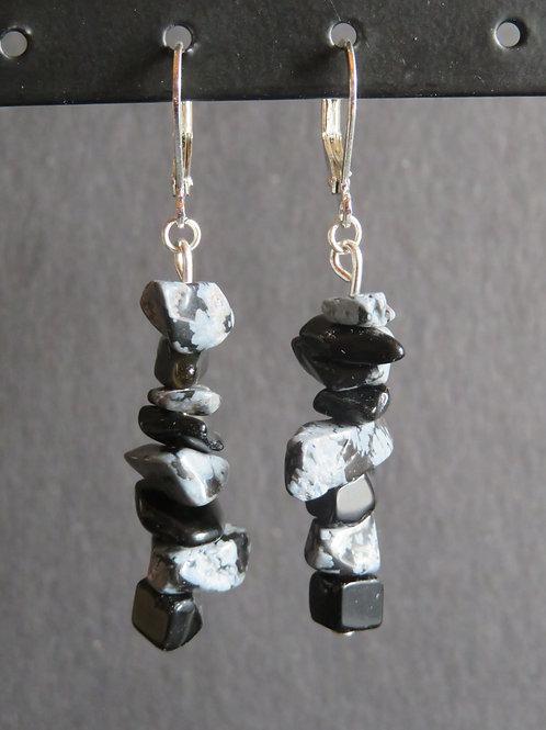 Boucle pierres noir et gris longues