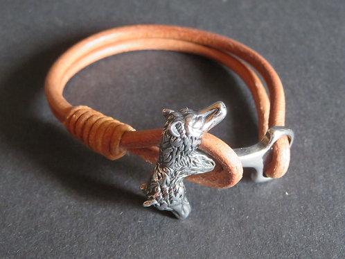 Bracelet cuir clair loup