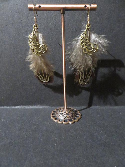 Boucle plumes naturelles et gold