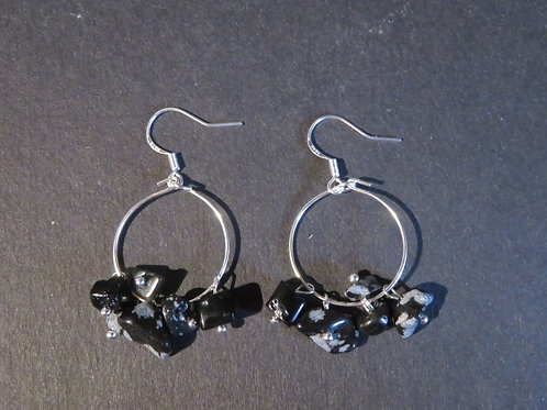 Petits anneaux Obsidienne neige