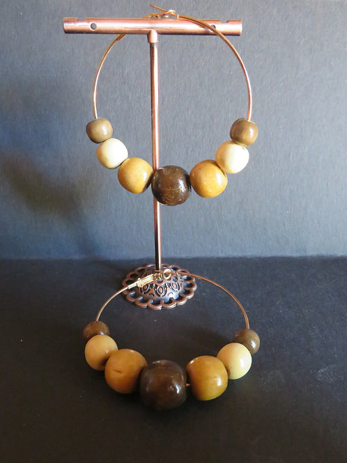 anneaux perles en bois