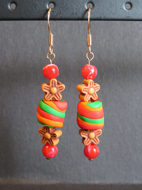 Boucles fleurs rouge et vert