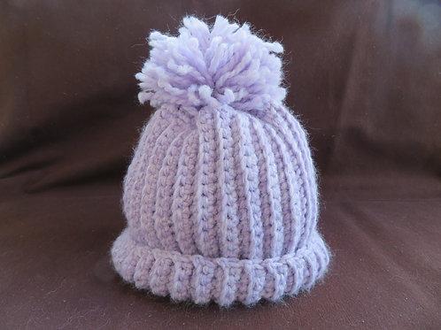 Bonnet enfant pompon violet
