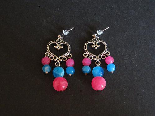 Boucles suspensions coeur bleu et rose