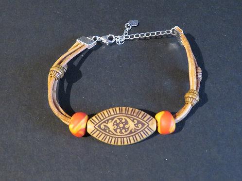 Bracelet 3 cuirs clair