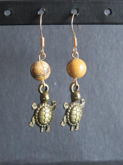Boucles gold pierre et tortue