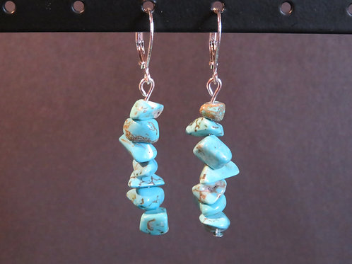 Boucles longues Howlite turquoise
