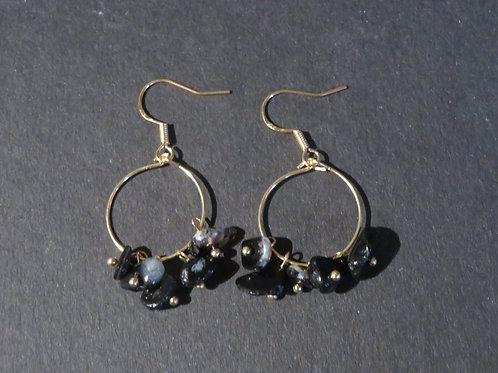Petits anneaux Agate noire