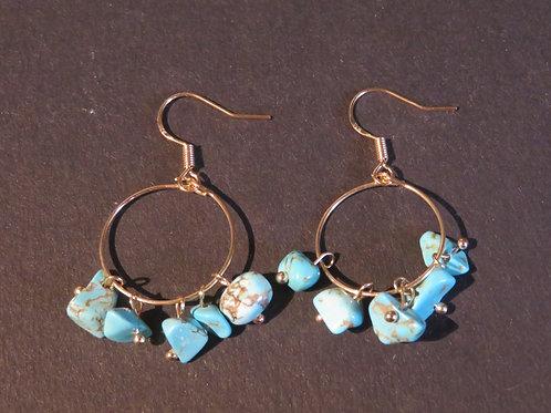 Petits anneaux Howlite turquoise
