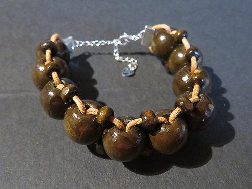 Bracelet grosses perles bois