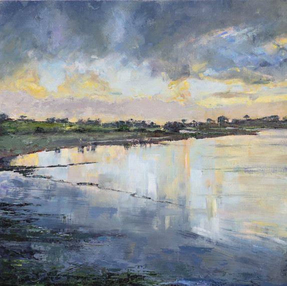 SOLD | REFLECTIVE LAKE | 60CM X 60CM | OIL ON PANEL