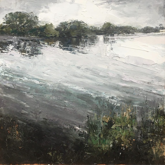 SILVER LAKE | IMAGE SIZE 23CM X 23 CM | FRAME SIZE 43CM X 43CM | OIL ON FABRIANO