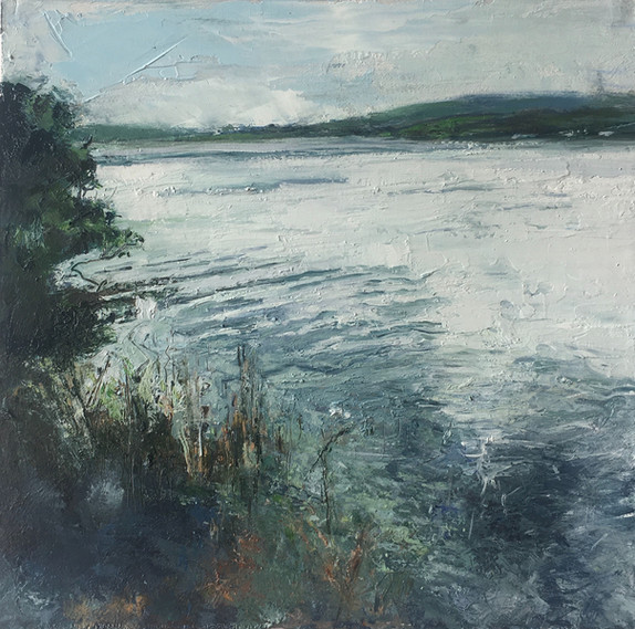 DISTANT SHORE | IMAGE SIZE 23CM X 23CM | FRAME SIZE 43CM X 43CM | OIL ON FABRIANO