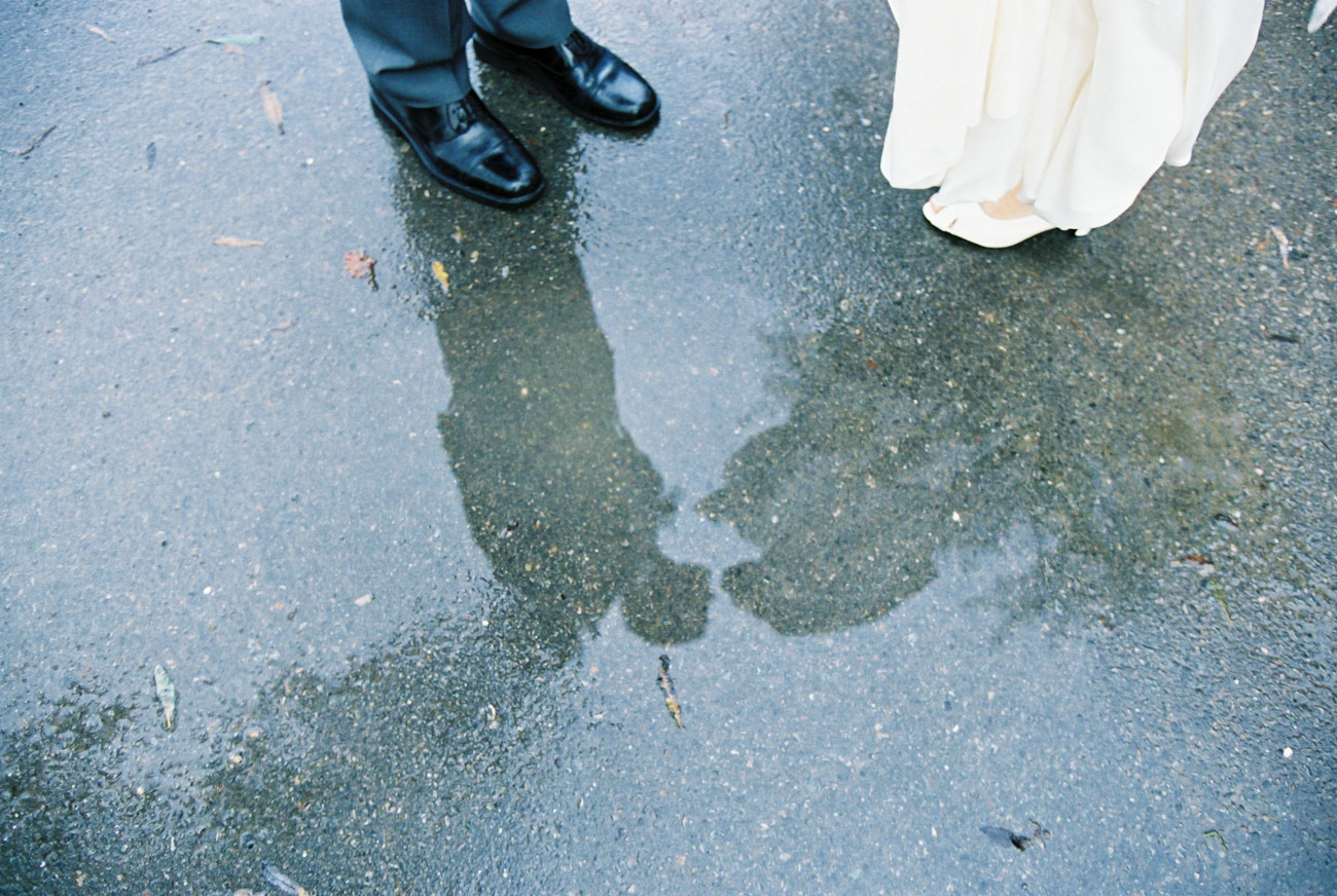 Pelican Inn Wedding Rain Puddle