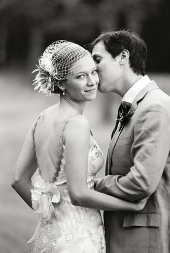 Nevada City Bride Groom Cheek Kiss