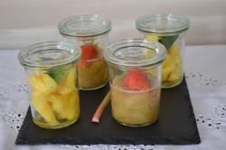 Ananas, fraise et rhubarbe