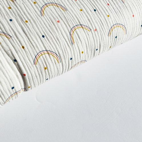 Doble gasa Rainbow and dots white