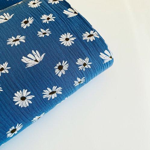 Doble gasa Flowers azul