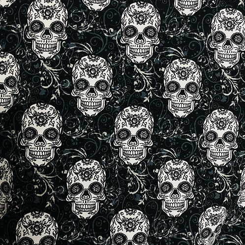 French terry Skulls black (organic)