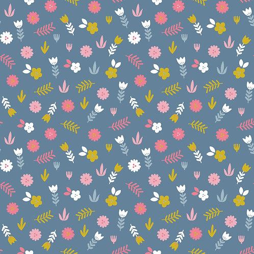 Popelín Flowers in blue