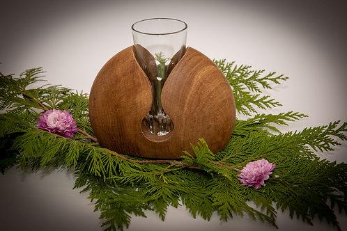 Handgearbeitete Vase mit Glas