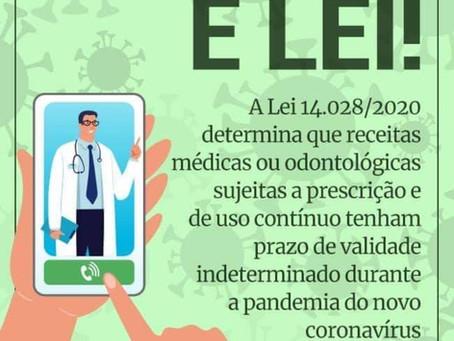 LEI Nº 14.028: Receituário médico de uso contínuo tem validade enquanto durar o surto da COVID-19