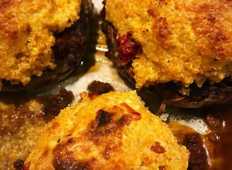 Sundried Tomato Quiñoa Stuffed Mushrooms