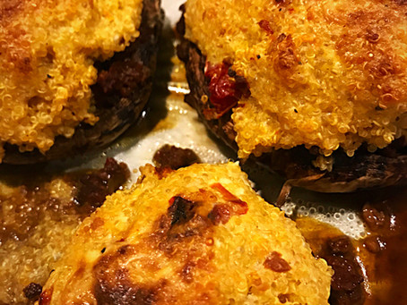 Sundried Tomato Quiñoa Stuffed Mushrooms