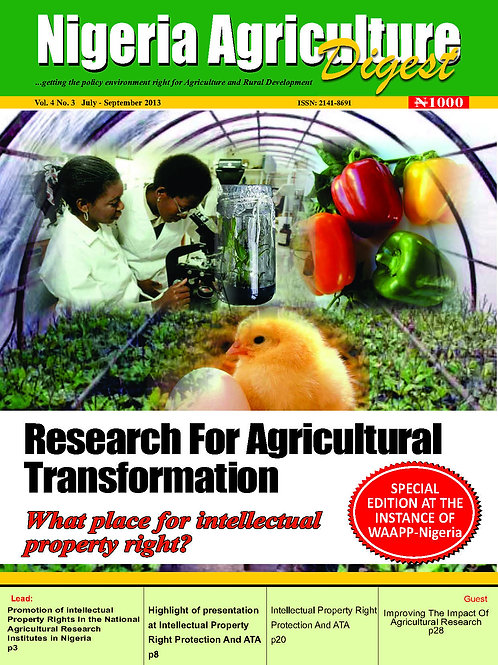 Research for Agriculture Transforms (July, 2013)