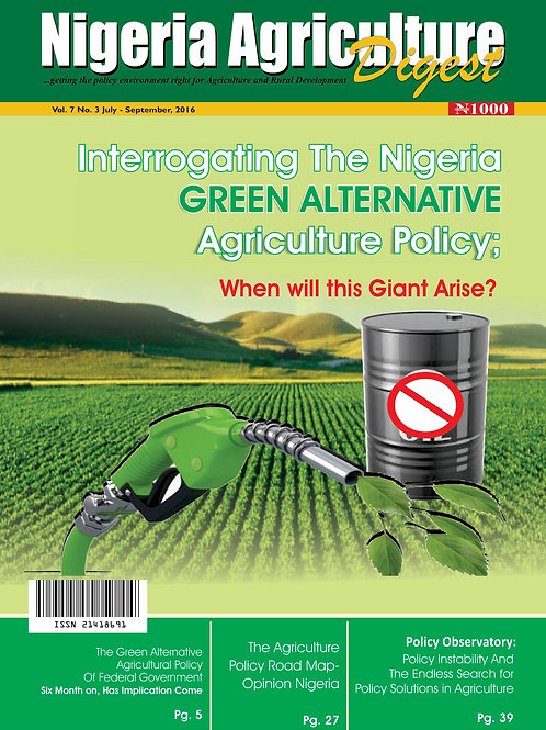 Interrogating the Nig. Green Alternative Agric. Policy (Sept., 2016)