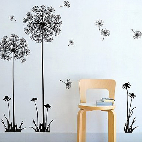 Wall Decal Floral Black and White