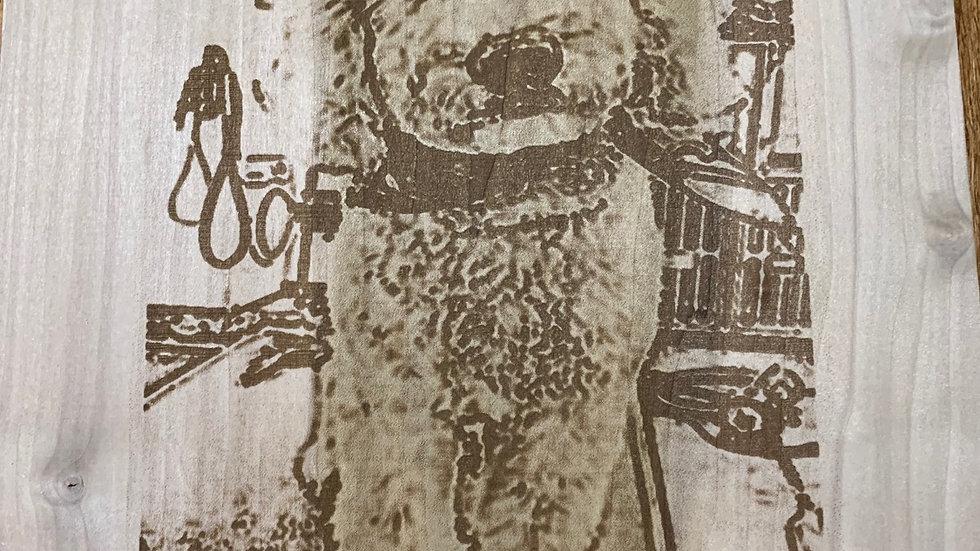 Laser engraved Doodle on wood