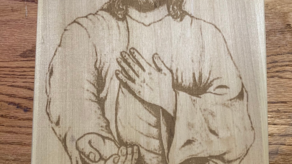 Laser Engraved depiction of Jesus