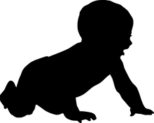 Silhouette of a baby crawling