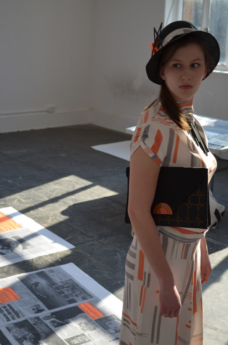 Clutch hand bag, straw hat and jewellery with laser cut acrylic details