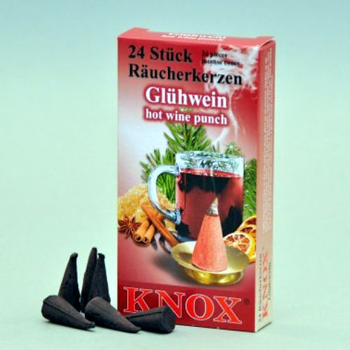 "013-350-Famous KNOX Brand""Glow Wine""Hot Wine Punch Scent Incense Cones-Box of 24"