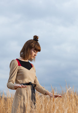 70s Color Block Ultrasuede Dress