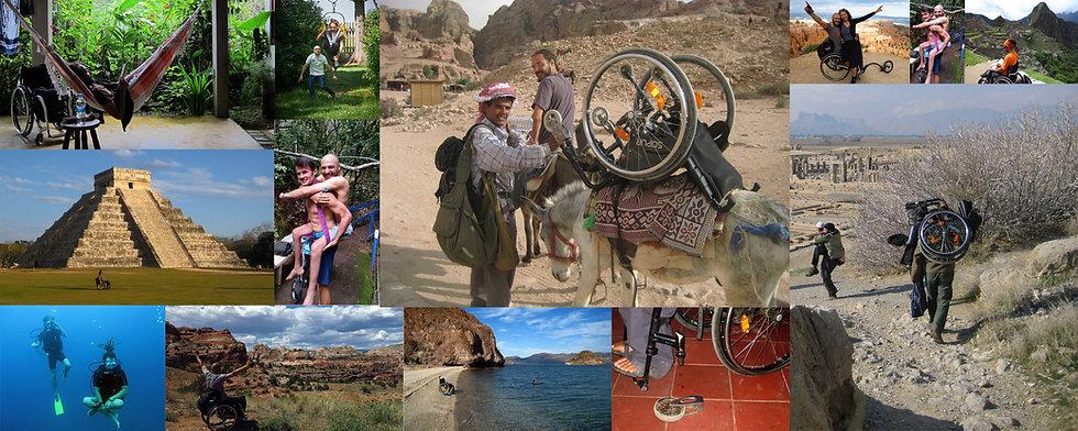 Collage mit Bildern, die Reinfried Blaha beim Reisen im Rollstuhl in verschiedenen Ländern zeigen.