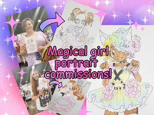 Become a magical girl! Portrait commission, manga / anime art style with copic