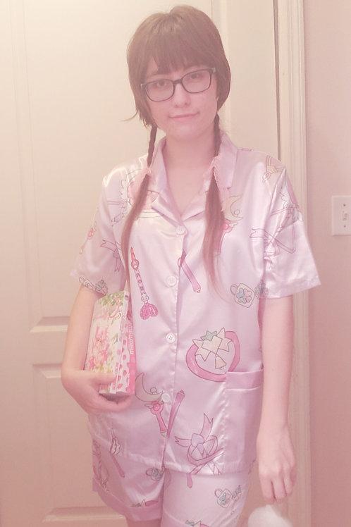 Magical girl wand print Pajama set - button up shirt and shorts