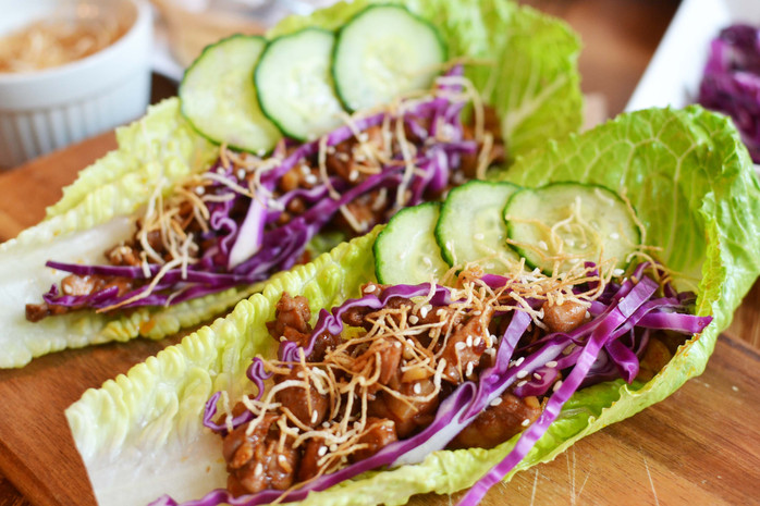 Sriracha-Chili Chicken Lettuce Wraps - Makes for a complete meal or a fun appetizer!
