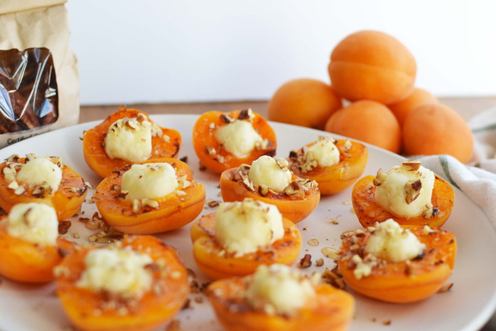 Grilled Apricots with Goat Cheese, Honey & Pecans