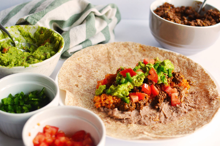 Basic Beef Burritos with Mexican-style Rice