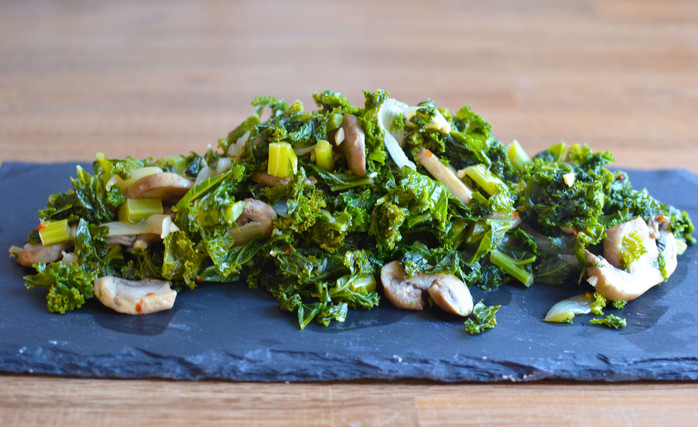 Braised Kale with Mushrooms - Get your veggies in ;)