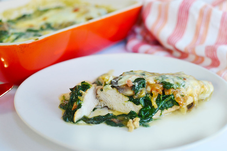 Smothered Chicken with caramelized onions, mushrooms, spinach and provolone!