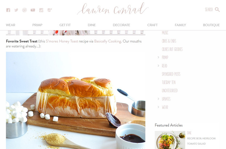 Major Announcement: Basically Cooking is featured as Lauren Conrad's Friday Favorite!