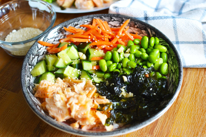 Baked Salmon Rice Bowl - With A Delicious Mix of Healthy Toppings